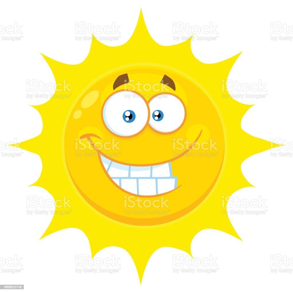 Komik Sarı Güneş Karikatür Emoji Yüz Karakter Ifade Gülümseyen Stok