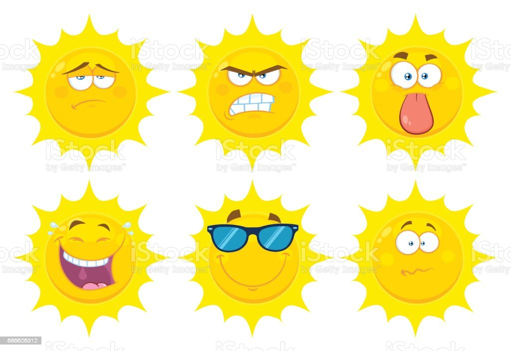 290888cf2955 Funny Yellow Sun Cartoon Emoji Face Series Character Set 2. Flat Design  Collection - Illustration .