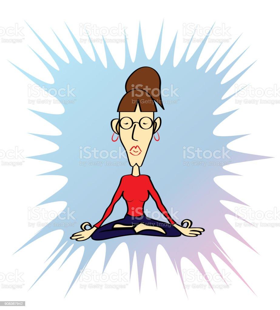 Lustige Yoga Woman Stock Vektor Art Und Mehr Bilder Von Asien Istock
