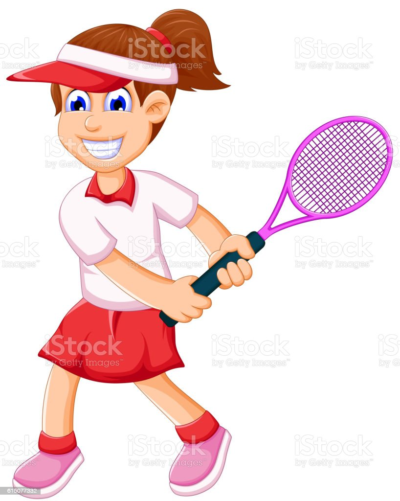 funny young girl playing tennis vector art illustration