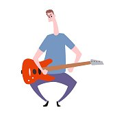 Funny young guy with guitar. Hobby and leisure. Flat vector illustration. Isolated on white background.