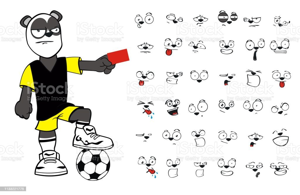 funny young panda bear cartoon soccer uniform expressions collection...