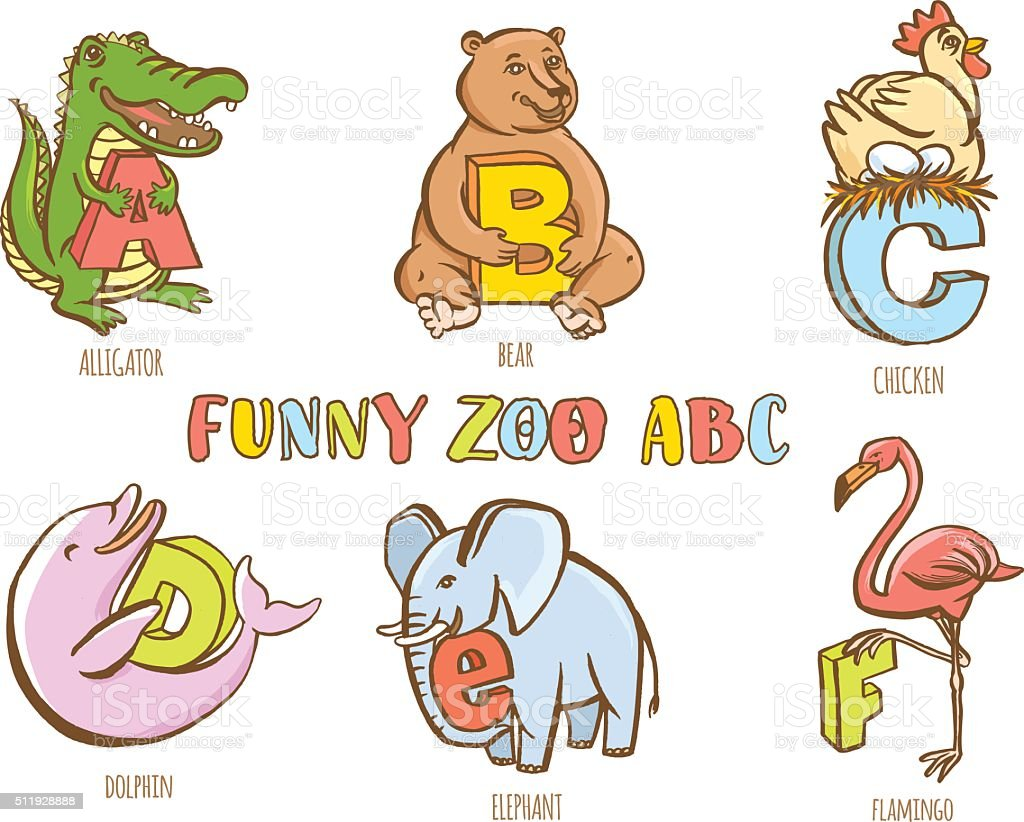 funny zoo animals kids alphabet hand drawn ink colorful style