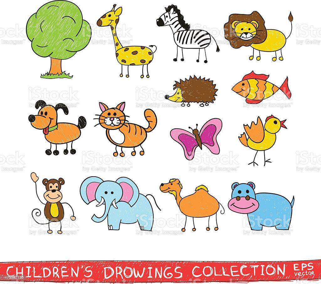 Funny Zoo Child Hand Drawing Illustration Cartoon Animals Vector