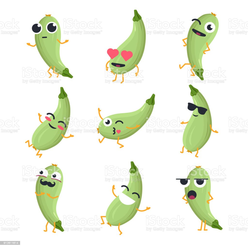 Funny zucchini - vector isolated cartoon emoticons vector art illustration