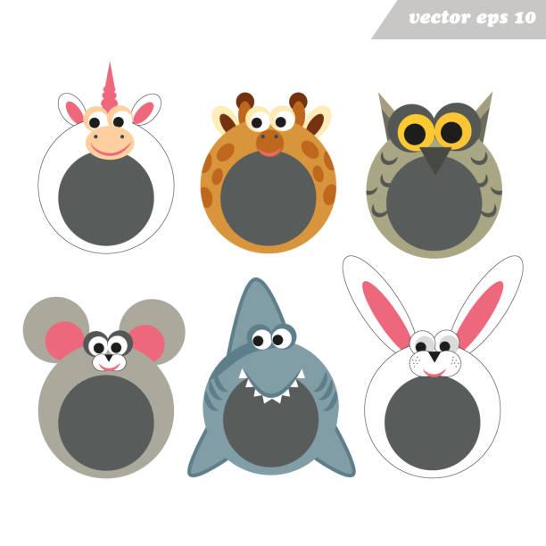 lustige cartoon glücklich tier gesicht masken für mobile app. - giraffenkostüm stock-grafiken, -clipart, -cartoons und -symbole