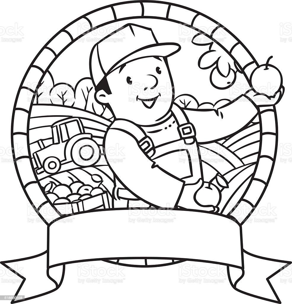 Ilustración de Funy Agricultor O Jardinero Libro Para Colorear ...