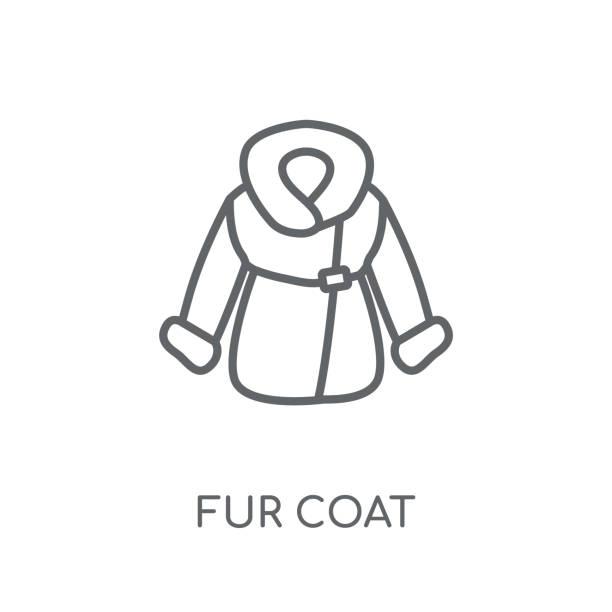 pelz mantel lineare symbol. moderne gliederung pelz mantel logokonzept auf weißem hintergrund von winter-kollektion - pelzmäntel stock-grafiken, -clipart, -cartoons und -symbole