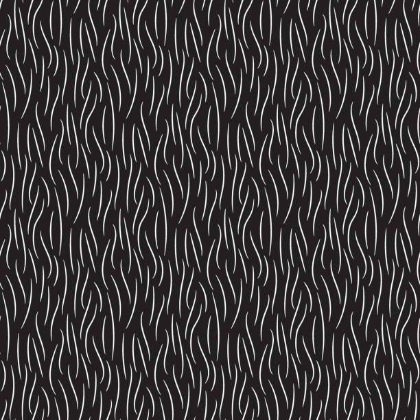 fur texture wild animal skin black white seamless pattern - fur texture stock illustrations, clip art, cartoons, & icons