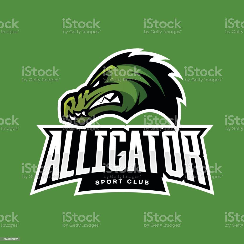 Furious alligator sport vector logo concept isolated on green furious alligator sport vector logo concept isolated on green background royalty free furious alligator sport buycottarizona