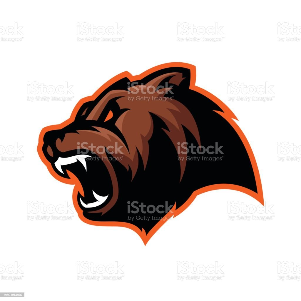 Furious bear head sport vector vector art illustration