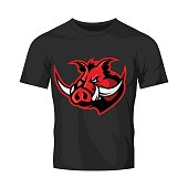 Furious boar head sport club vector Icon concept isolated on black t-shirt mockup. Modern professional mascot team badge design.