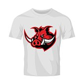 Furious boar head sport club vector Icon concept isolated on white t-shirt mockup. Modern professional mascot team badge design.
