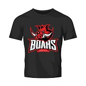 Furious boar sport club vector concept isolated on black t-shirt mockup. Modern web infographic team pictogram design.