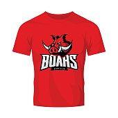 Furious boar sport club vector concept isolated on red t-shirt mockup. Modern web infographic team pictogram design.