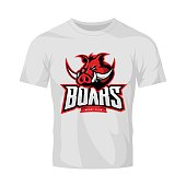 Furious boar sport club vector concept isolated on white t-shirt mockup. Modern web infographic team pictogram design.