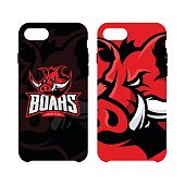 Furious boar sport club vector concept smart phone case isolated on white background.