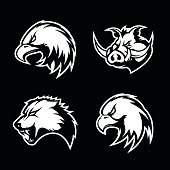 Furious boar, wolf, panther and eagle head sport vector icon concept set isolated on black background.