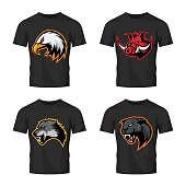 Furious boar, wolf, panther and eagle head sport vector logo concept set isolated on black t-shirt mockup.