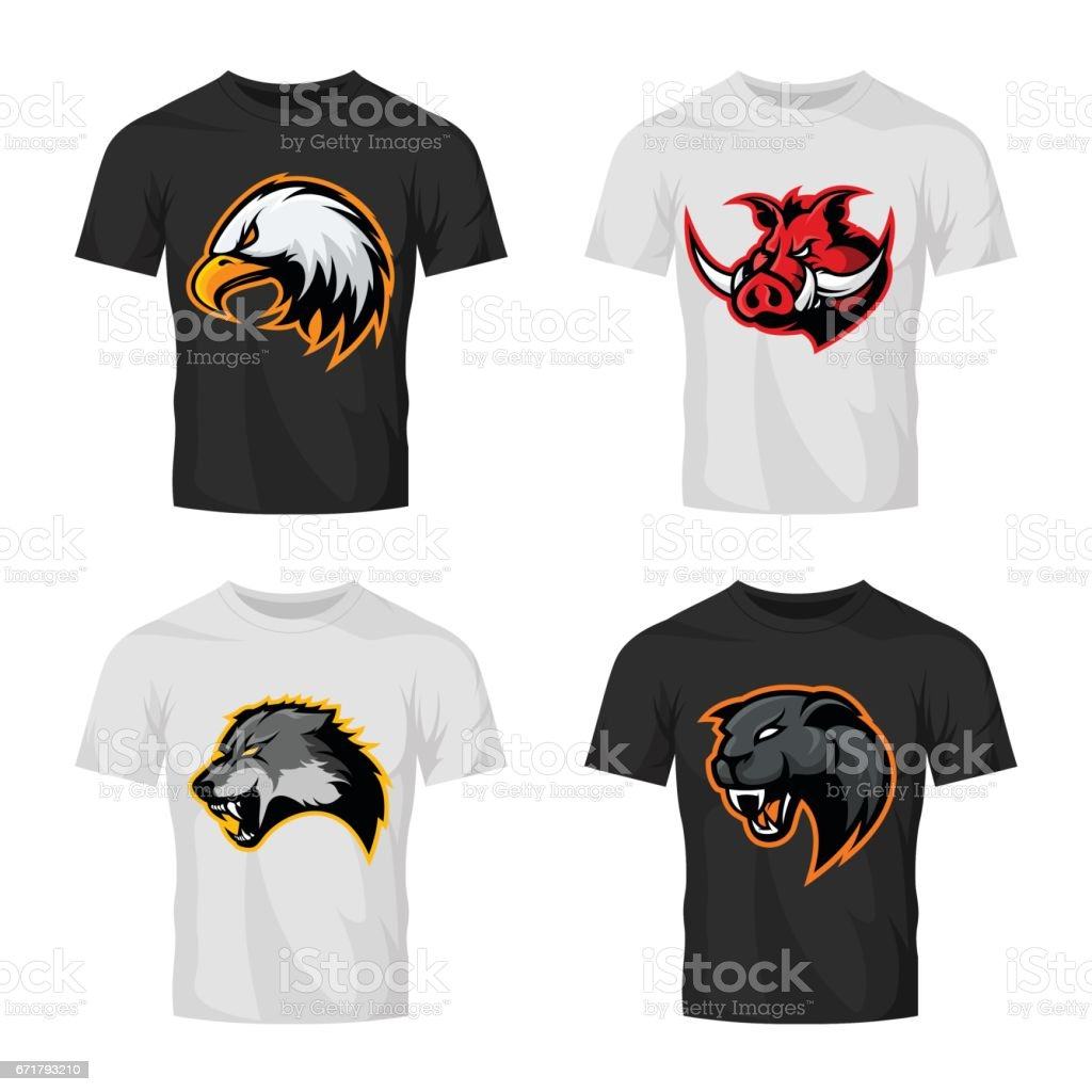 Furious boar, wolf, panther and eagle head sport vector logo concept set isolated on t-shirt mockup. vector art illustration