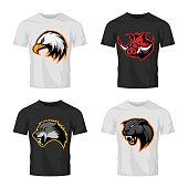 Furious boar, wolf, panther and eagle head sport vector logo concept set isolated on t-shirt mockup.