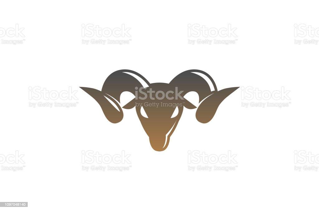 Logo de klaxon furieux Ram brun - Illustration vectorielle