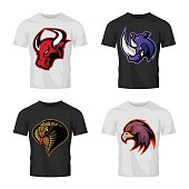 Furious bull, rhino, cobra and eagle head sport vector logo concept set isolated on t-shirt mockup.