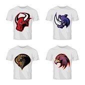 Furious bull, rhino, cobra and eagle head sport vector logo concept set isolated on white t-shirt mockup.