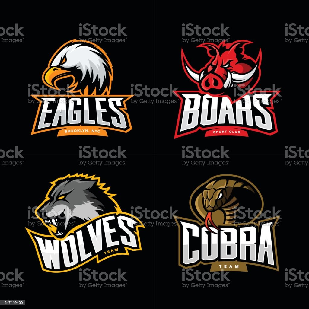Furious cobra, wolf, eagle and boar sport vector logo concept set isolated on dark background vector art illustration