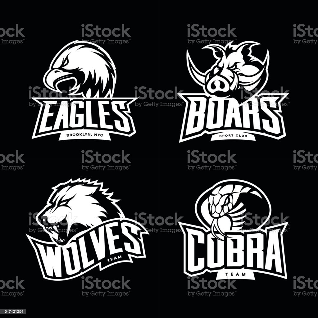 Furious cobra, wolf, eagle and boar sport vector logo concept set isolated on dark background. vector art illustration