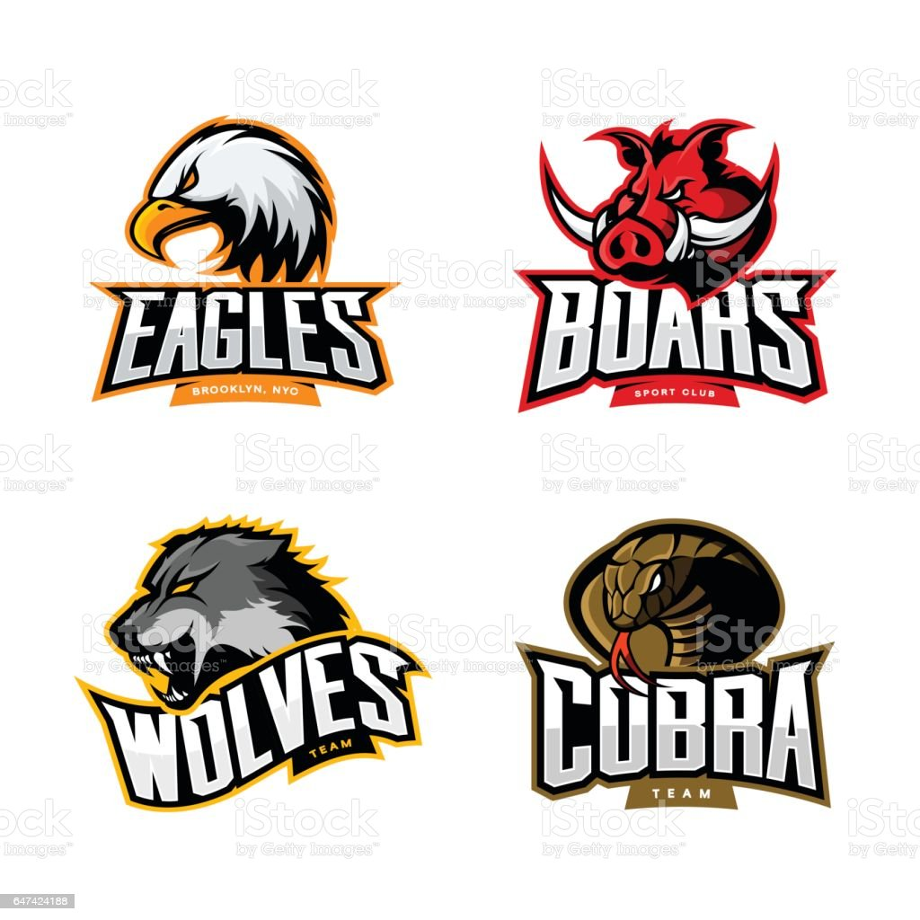 furious cobra wolf eagle and boar sport vector logo concept set rh istockphoto com vector logo maker vector logo generator