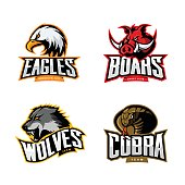 Furious cobra, wolf, eagle and boar sport vector logo concept set isolated on white background.