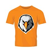 Furious eagle head athletic club vector logo concept isolated on orange t-shirt mockup.