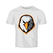 Furious eagle head athletic club vector logo concept isolated on white t-shirt mockup.