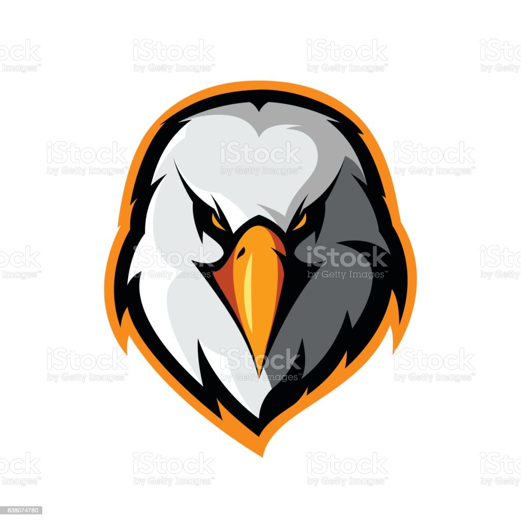 Furious eagle head athletic club vector logo concept isolated on white background. vector art illustration