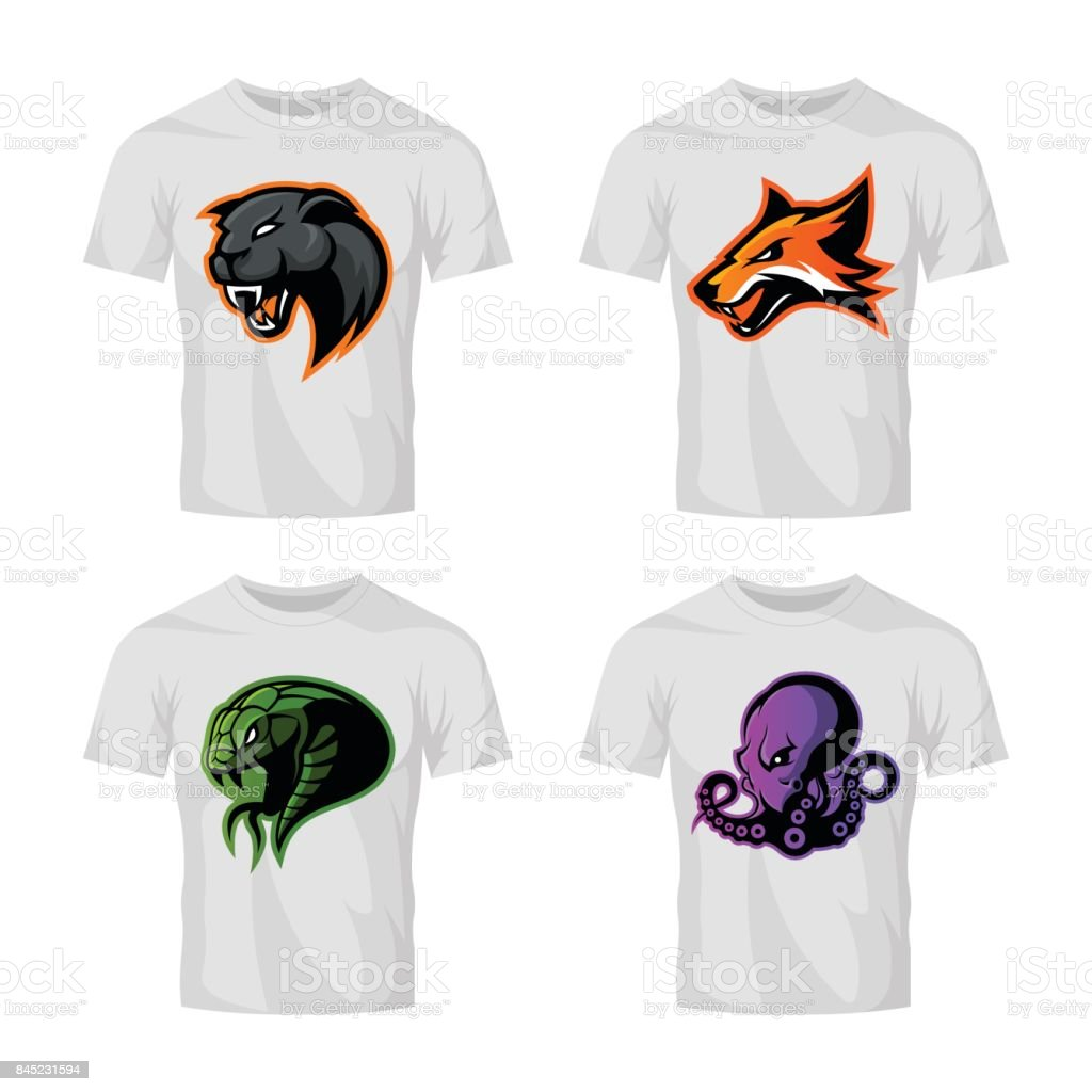 Furious fox, snake, octopus and panther sport vector logo concept set isolated on white background. vector art illustration