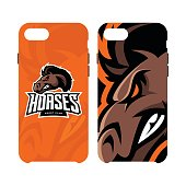 Furious horse sport club vector logo concept smart phone case isolated on white background