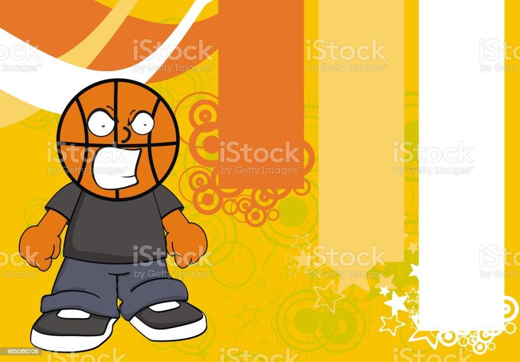 öfkeli çocuk Basketbol Baş çizgi Film Arka Plan Stok Vektör Sanatı