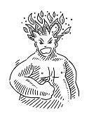 Furious Man Burning Head Drawing