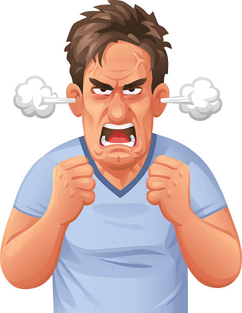 Furious Man Vector illustration of a an enraged young man with steam coming out of his ears. He makes a fist and screams at the camera. Concept for enragement, frustration, anger, violence and emotions. displeased stock illustrations