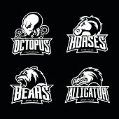 Furious octopus, horse, bear and alligator sport vector icon concept set isolated on black background.