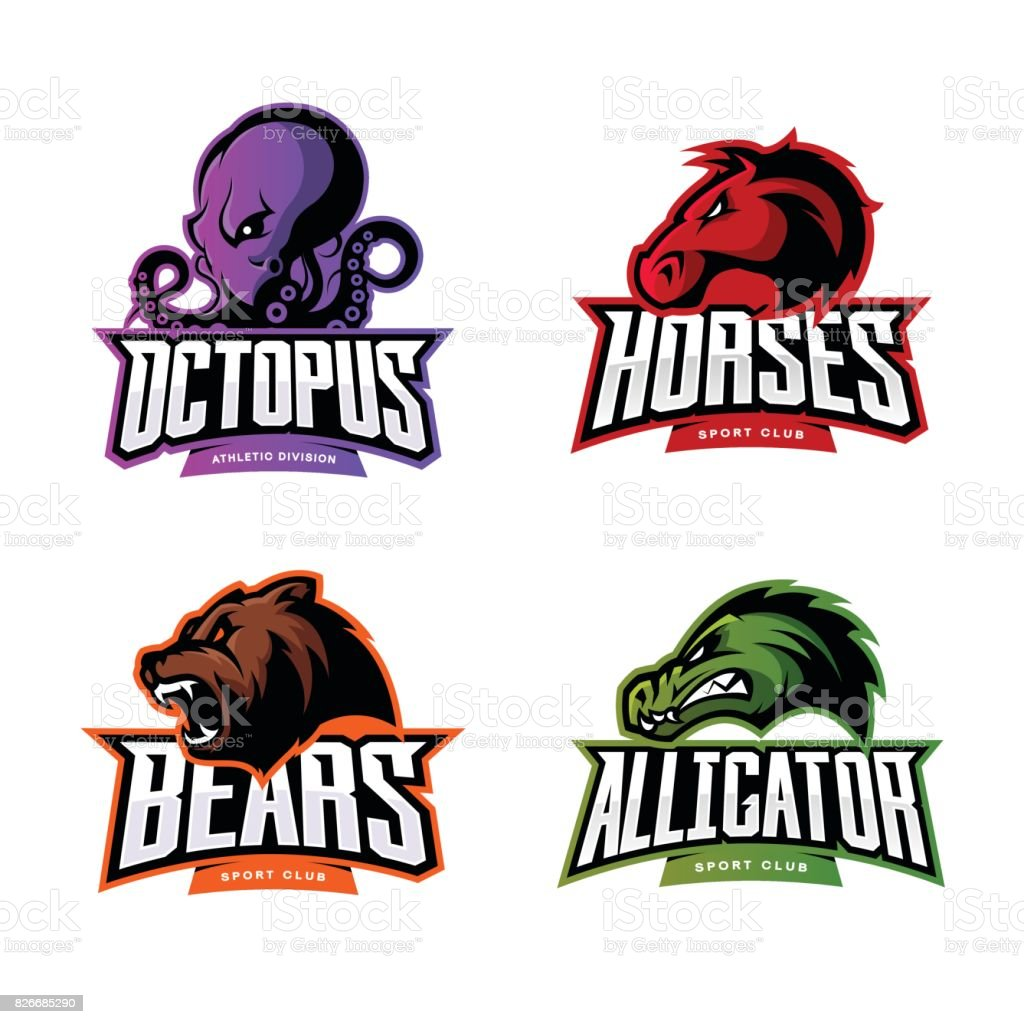 Furious octopus, horse, bear and alligator sport vector icon concept set isolated on white background. vector art illustration