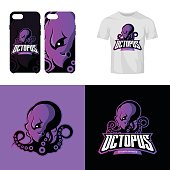 Furious octopus sport club isolated vector icon concept