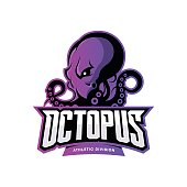 Furious octopus sport vector concept isolated on white background. Modern professional team badge design.