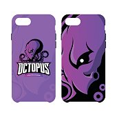 Furious octopus sport vector concept smart phone case isolated on white background.