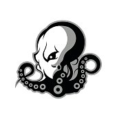 Furious octopus sport vector logo concept isolated on white background. Modern professional team badge design.