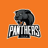Furious panther sport vector logo concept isolated on orange background