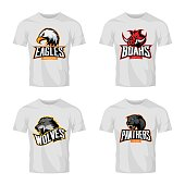 Furious panther, wolf, eagle and boar sport vector logo concept set isolated on white t-shirt mockup.