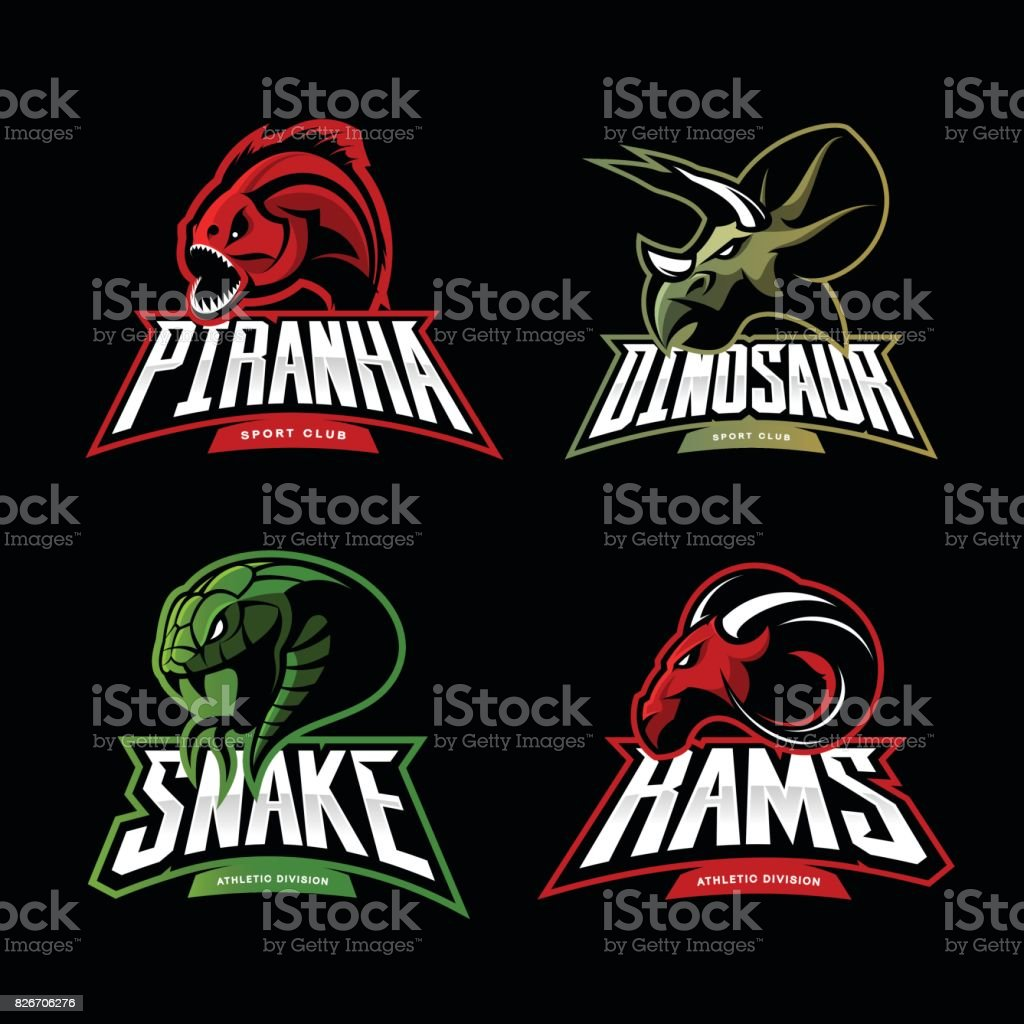 Furious piranha, ram, snake and dinosaur head sport vector icon concept set isolated on black background. vector art illustration