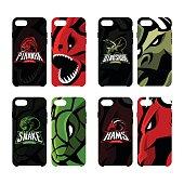 Furious piranha, ram, snake and dinosaur sport vector icon,  concept smart phone case